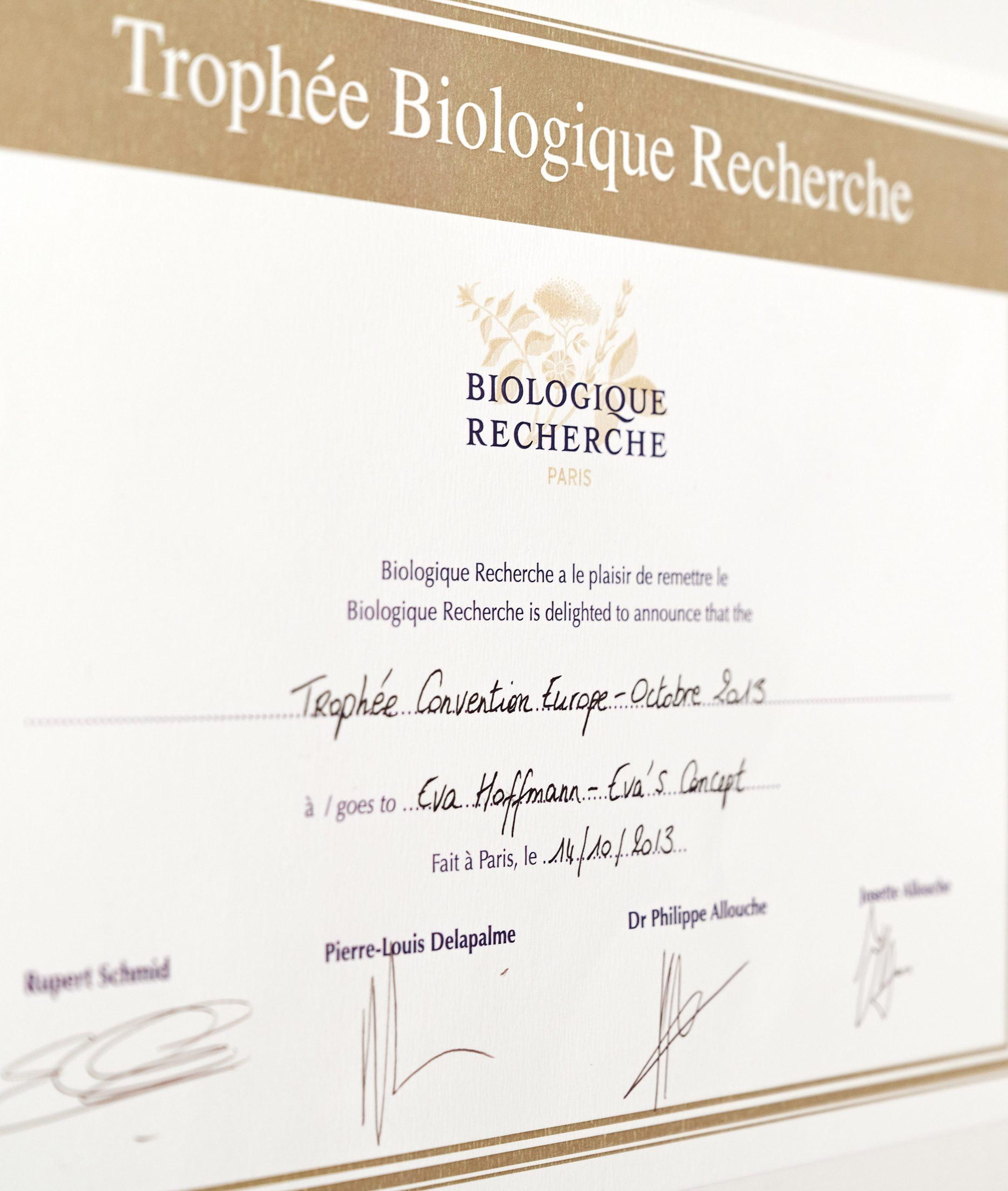 Auszeichnung von Biologique Recherche - evas concept